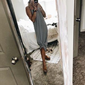 Striped stretchy maxi dress
